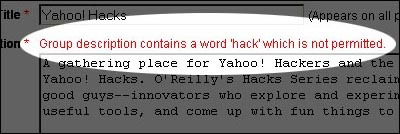 the word hack is not permitted at yahoo groups